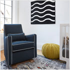 modern upholstered luca glider - midnight blue body and white piping