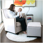 modern upholstered luca glider - white body with brown piping