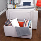 modern upholstered storage bench - smoke body