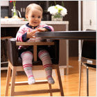 modern high chair/tavo chair brown bonded leather with maple base and clear finish