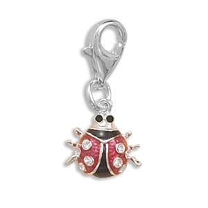 Sterling Silver Ladybug Charm with Lobster Clasp