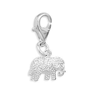 Sterling Silver Crystal Elephant Charm With Lobster Clasp