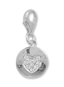 Sterling Silver Crystal Heart Charm