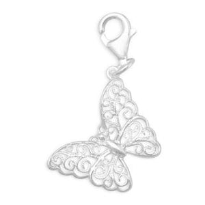 Sterling Silver Filigree Butterfly Charm With Lobster Clasp