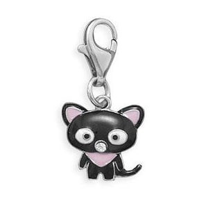 Sterling Silver Black Cat Charm With Lobster Clasp