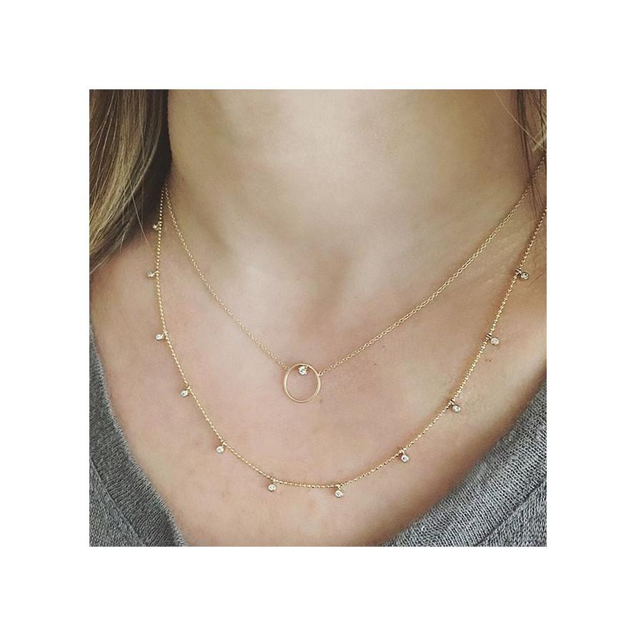 Circle Prong Diamond Necklace