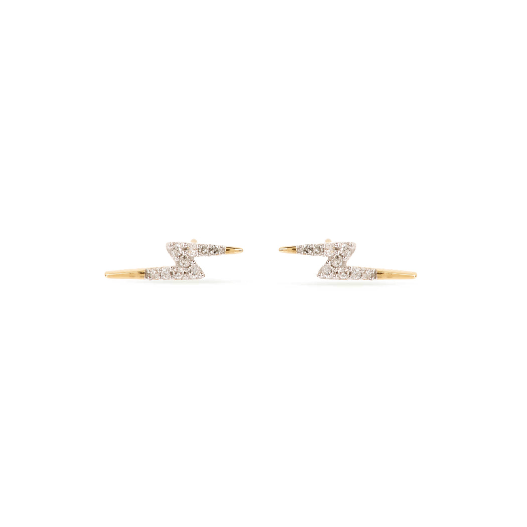 Lightening Bolt Pavé Earrings