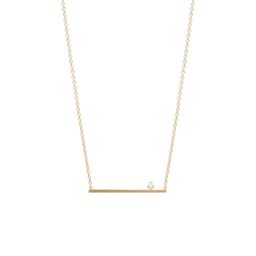 Prong Set Diamond Bar Necklace