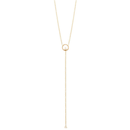 Circle Prong Diamond Lariat Necklace