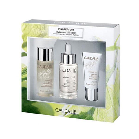 Caudalie VINOPERFECT SET - Siero Antimacchia 30ml + Crema notte 15ml + Essenza illuminante 50ml