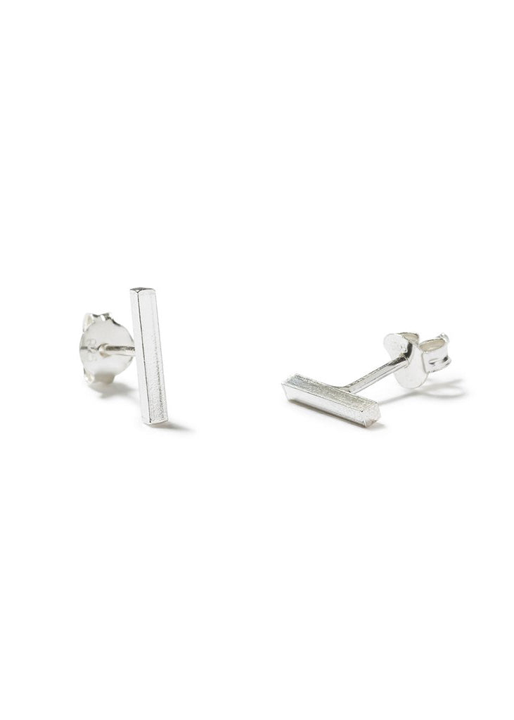 Famke Bar Stud Earrings - Silver