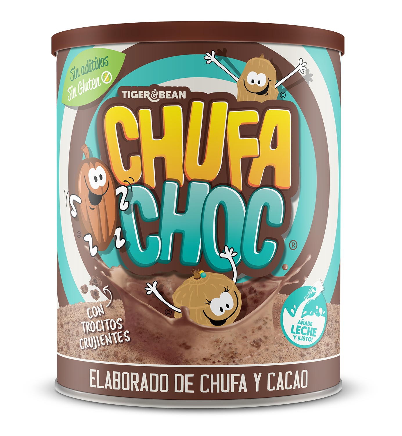 Tin of ChufaChoc - A choc flavoured milk drink made from tiger nut ( Chufa ) and cocoa - Tigernuts are a source of prebiotic fibre