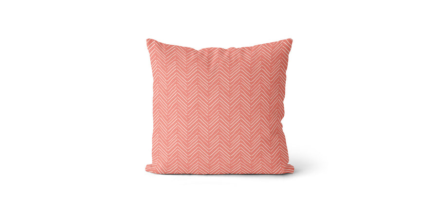 Coussin Petits chevrons corail