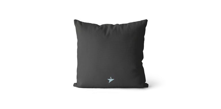 Coussin Seize every minute and make it count couleur charcoal et bleu ciel
