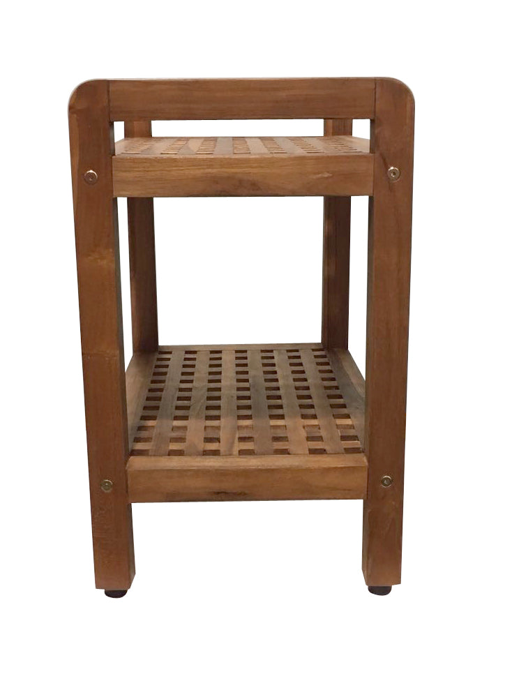 Ala Teak Ergonomic Stool Bench With Shelf and LiftAide Arms Mobility Safety Seating Transfer Products Shower Bath Safety Seating Transfer Products - ALA TEAK