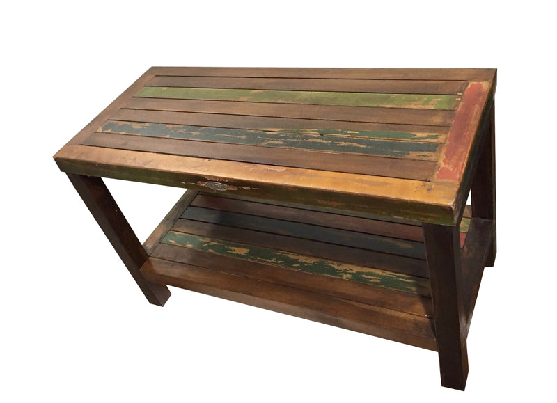 Ala Teak Wood Patio Garden Indoor Outdoor Vintage Looking Yard Coffee Side Table Bench Stool Waterproof Bath Spa Shower Shelf Storage Easy Assemble - ALA TEAK