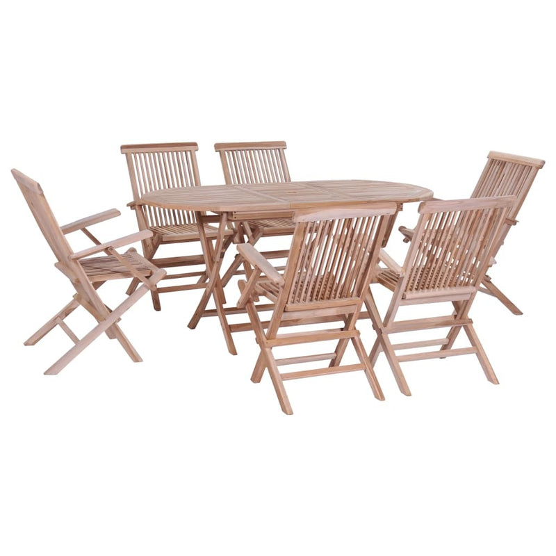 Folding Dining Set 7 Pieces Solid Teak - ALA TEAK