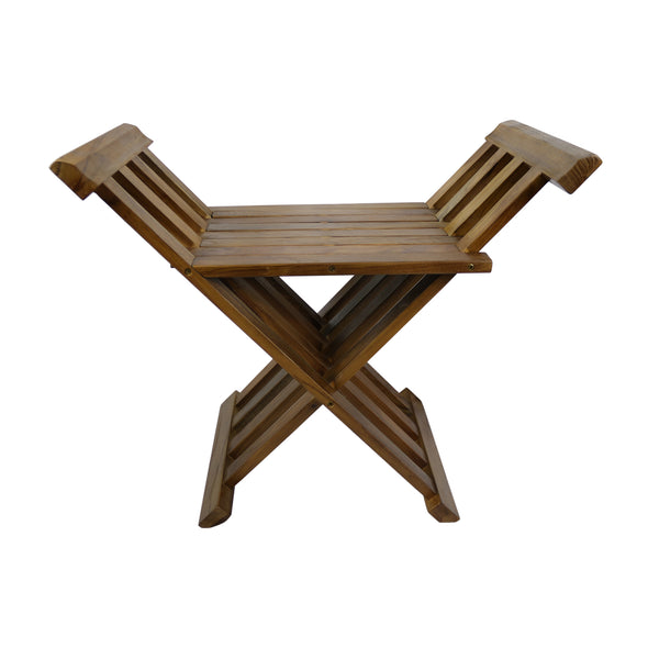 Ala Teak Indoor Outdoor Patio Shower Bath Spa Folding Bench Stool Seat - ALA TEAK