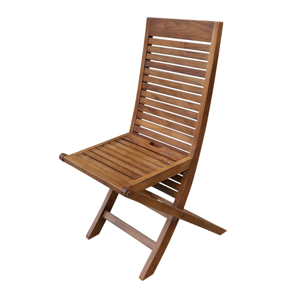 ALA TEAK 2 Piece Wood Indoor Outdoor Patio Garden Yard Folding Seat Chair Set - ALA TEAK