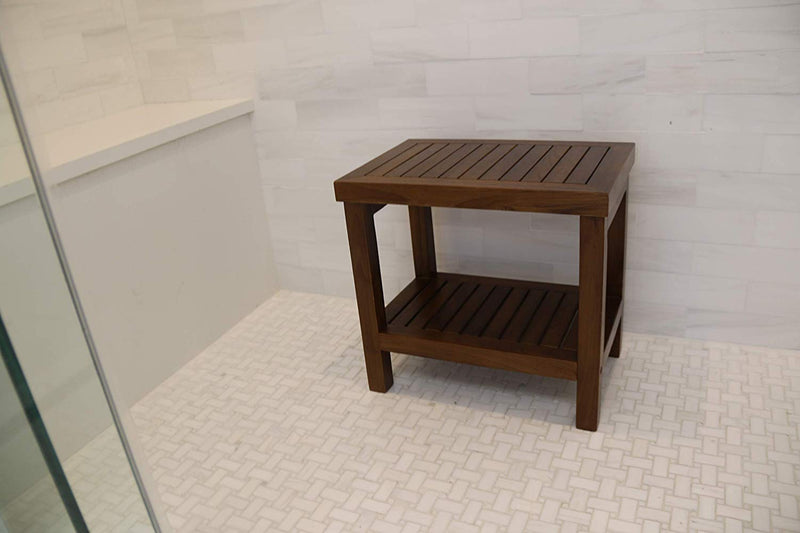 ALA TEAK Wood Shower Bath Spa Waterproof Stool Bench with Shelf Brown - ALA TEAK