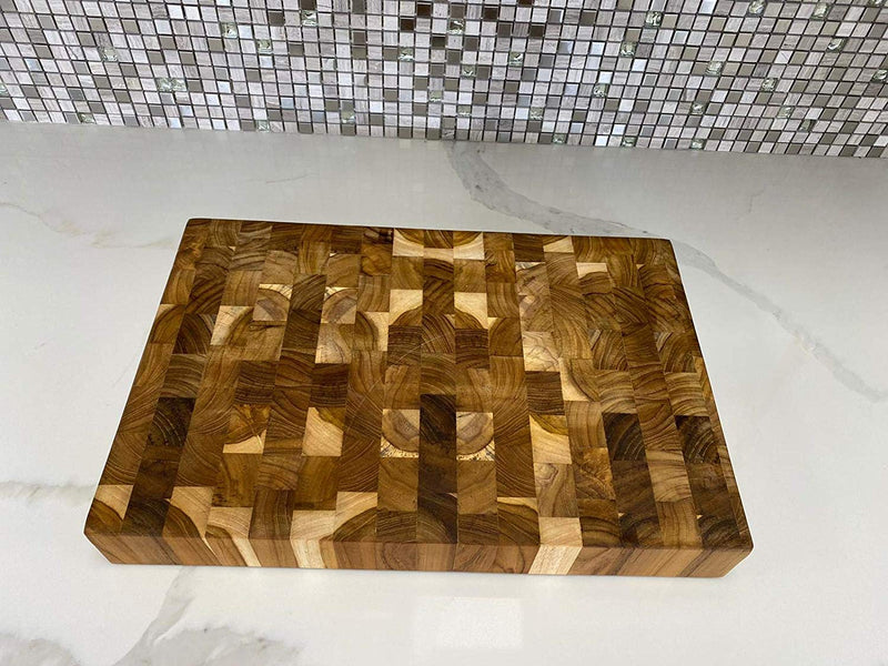 Ala Teak Wood Premium Rectangle End Grain Cutting Board Large Heavy Duty Butcher Block - ALA TEAK