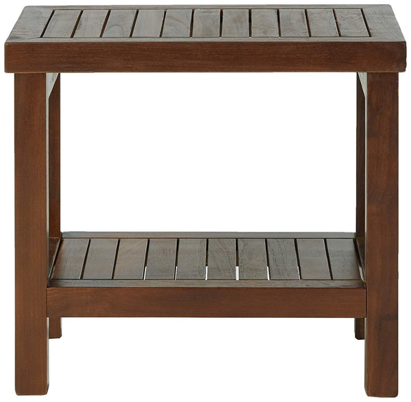 ALA TEAK Wood Shower Bath Spa Waterproof Stool Bench with Shelf Brown Dark Brown