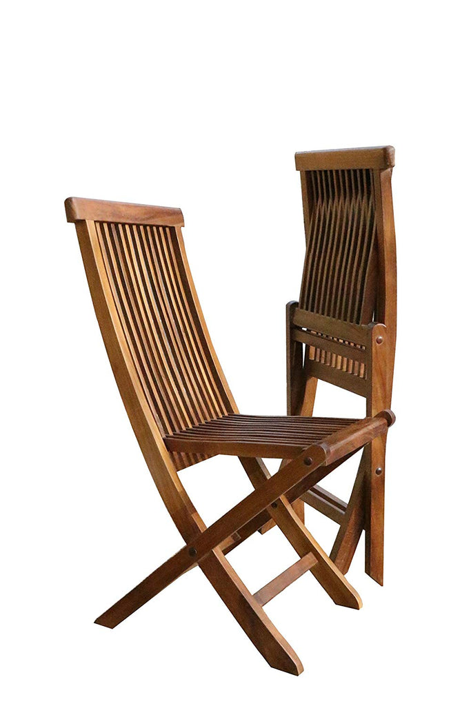 ALATEAK Wood indoor Outdoor Patio Garden Yard Folding Seat Standable Chair Set (2 chairs) - ALA TEAK