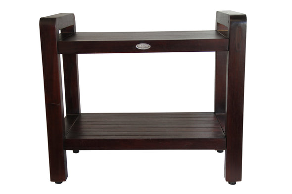 ALA TEAK Teak Wood Shower Bath Spa Waterproof Bench Stool 20 with shelf and Lift Aide Arms - ALA TEAK