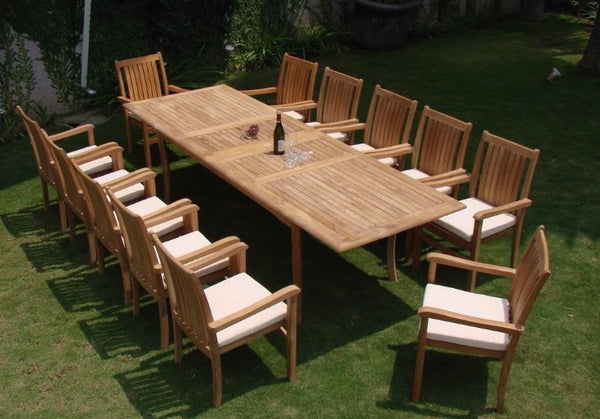 Ala Teak Wood Patio Outside Garden Yard Dining Table and 12 Chair Set Waterproof Teak Furniture Fully Assembled … - ALA TEAK
