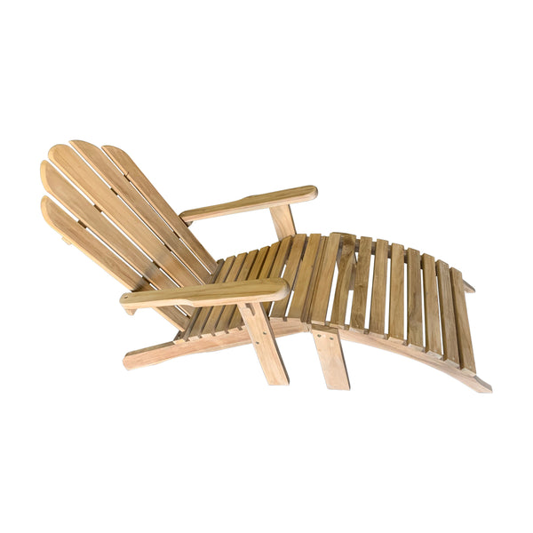 Ala Teak Wood Adirondack Chair with Ottoman - ALA TEAK