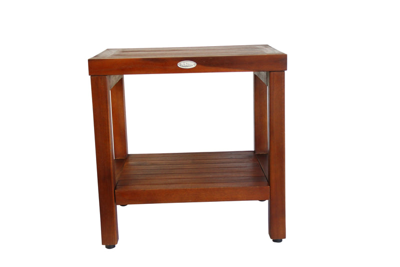ALA TEAK Classic Teak Wood Shower Bath Spa Waterproof Bench Stool With Shelf - ALA TEAK