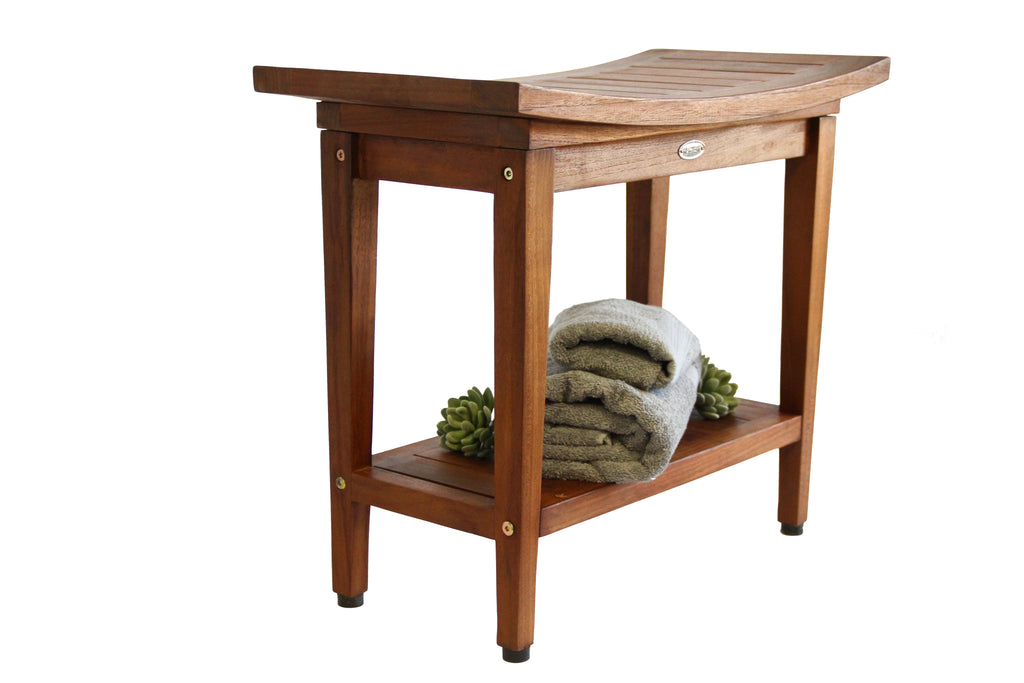 Ala Teak  Wood Spa Shower Bath Outdoor Stool Bench with Shelf 24 Wide - ALA TEAK