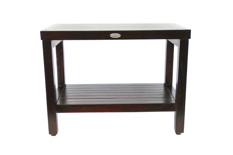 ALA TEAK Classic 24 Teak Wood Shower Bath Spa Waterproof Stool Bench with Shelf - ALA TEAK