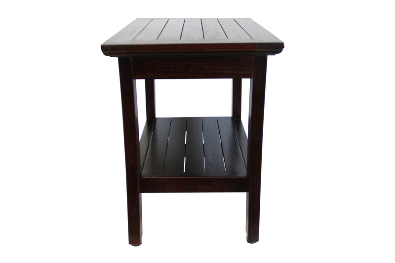 ALA TEAK 24 Madena Teak Wood Shower Bath Spa Waterproof Bench Stool With Shelf - ALA TEAK