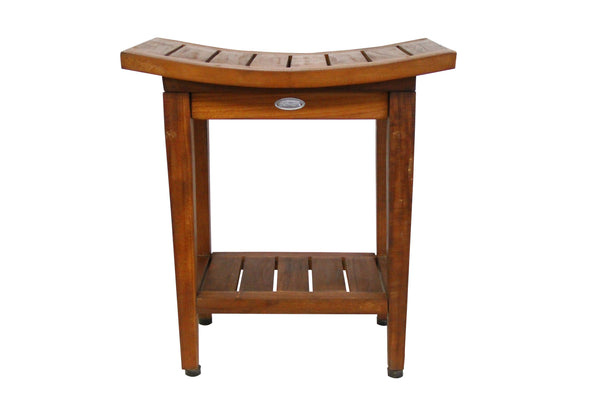 ALA TEAK Shower Spa Bath Waterproof Stool Bench With Shelf 18 wide - ALA TEAK