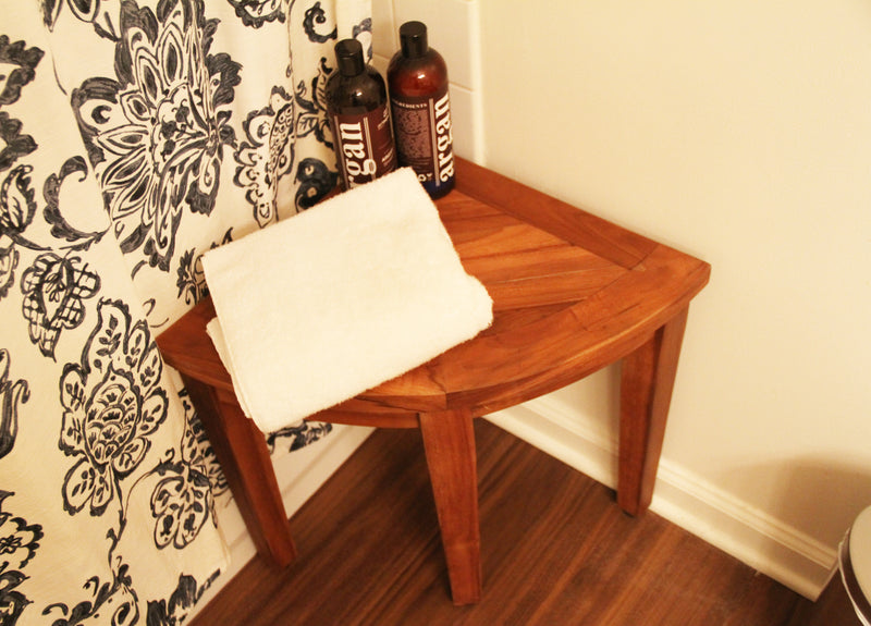 ALA TEAK Corner Teak Wood Bath Spa Shower Stool Corner Table Bench Stool Shelf Storage - ALA TEAK