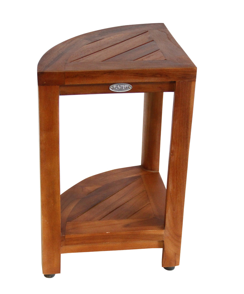 ALA TEAK Corner Teak Wood Bath Spa Shower Stool Corner Table Bench Stool Fully Assembled Brown - ALA TEAK