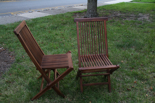 Ala Teak Wood indoor Outdoor Patio Garden Yard Folding Chair Seat Teak Chair Set Dark (2 chairs) - ALA TEAK