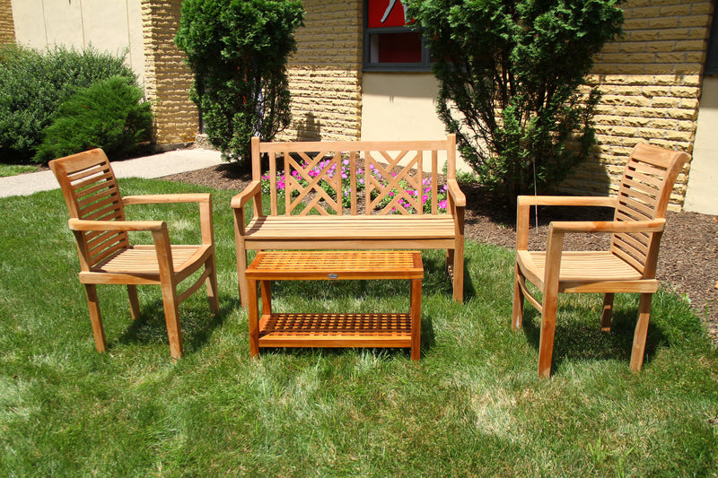 Ala Teak Wood indoor Outdoor Patio Garden Yard Chair set Seat Teak Chair Set Dark (2 chairs) - ALA TEAK