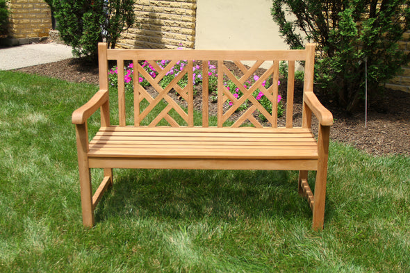 Ala Teak - Teak wood Bench Stool Outside Patio Garden Bench Seat Chair Fully Assembled - ALA TEAK