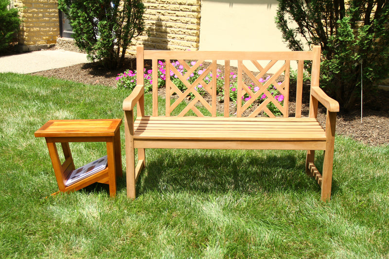 Ala Teak Teak Wood Bench Stool Outside Patio Garden Bench Seat Chair Fully Assembled