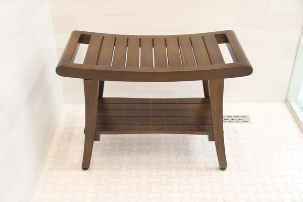 ALATEAK Shower Spa Bath Waterproof Stool Bench Dark Brown - ALA TEAK
