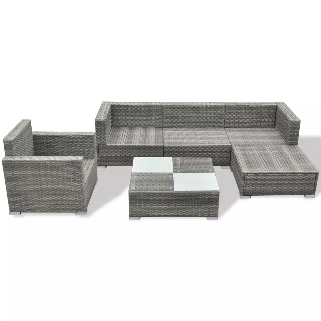 Garden Sofa Set 17 Pieces Poly Rattan Gray - ALA TEAK