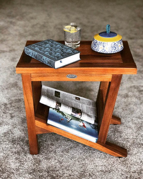 Ala Teak Wood Patio Garden Indoor Outdoor Yard Coffee Side Table Waterproof Fully Assembled Bath Spa Shower Shelf Storage - ALA TEAK
