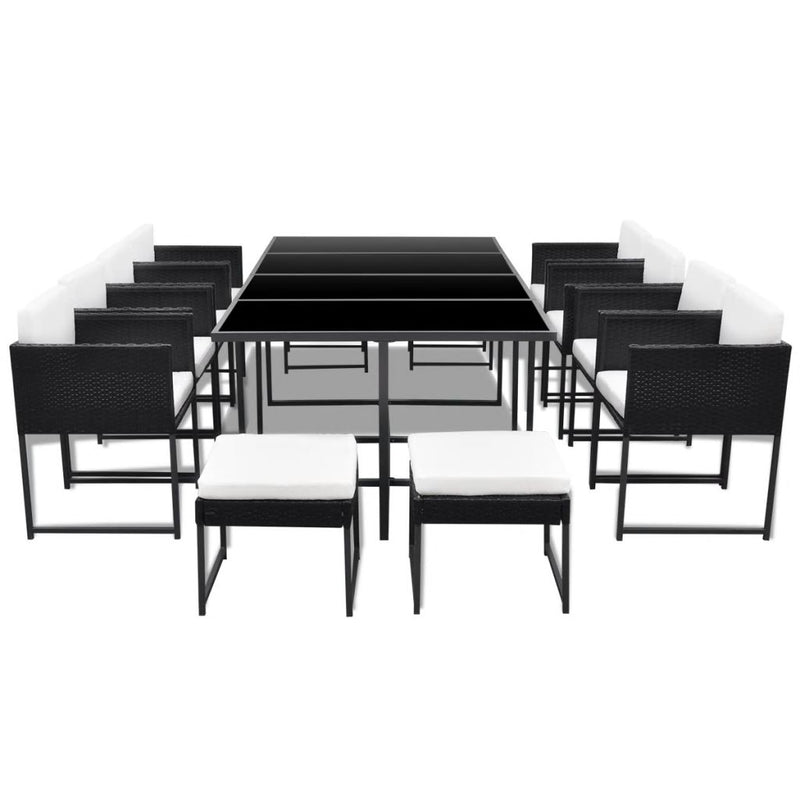 Outdoor Dining Set 33 Pieces Poly Rattan Black - ALA TEAK