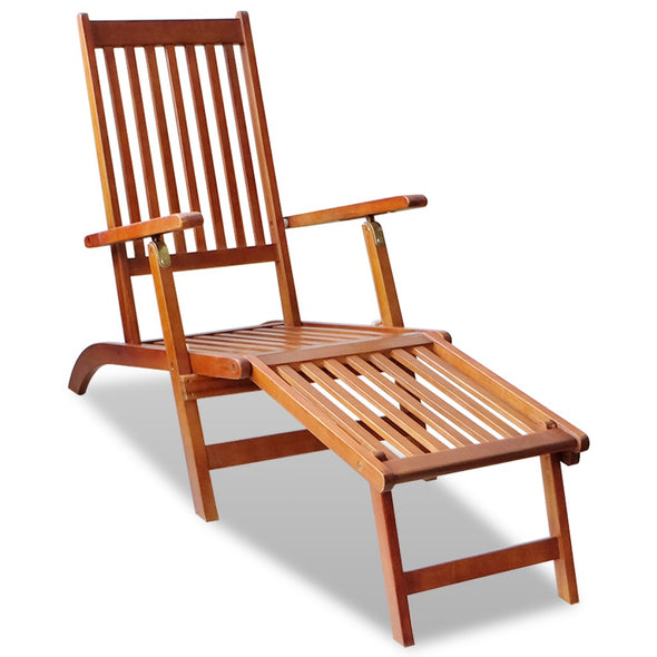 Outdoor Deck Chair with Footrest Acacia Wood - ALA TEAK