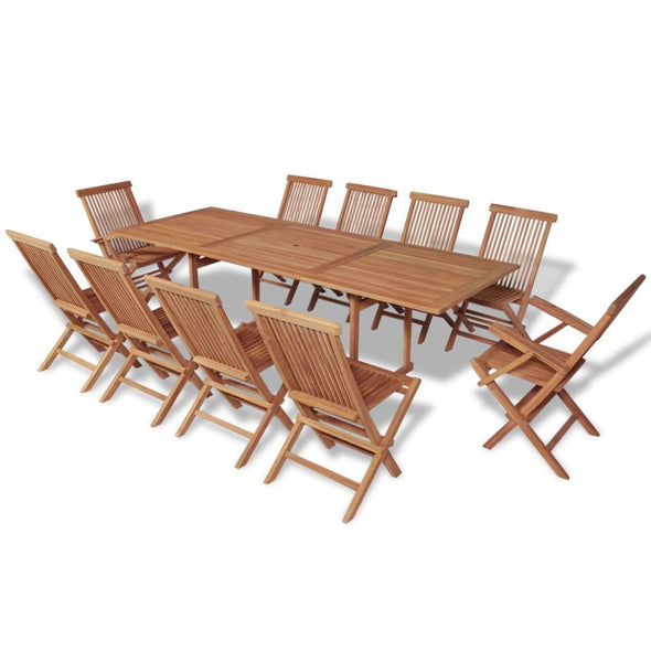 Outdoor Dining Set 11 Pieces Teak - ALA TEAK