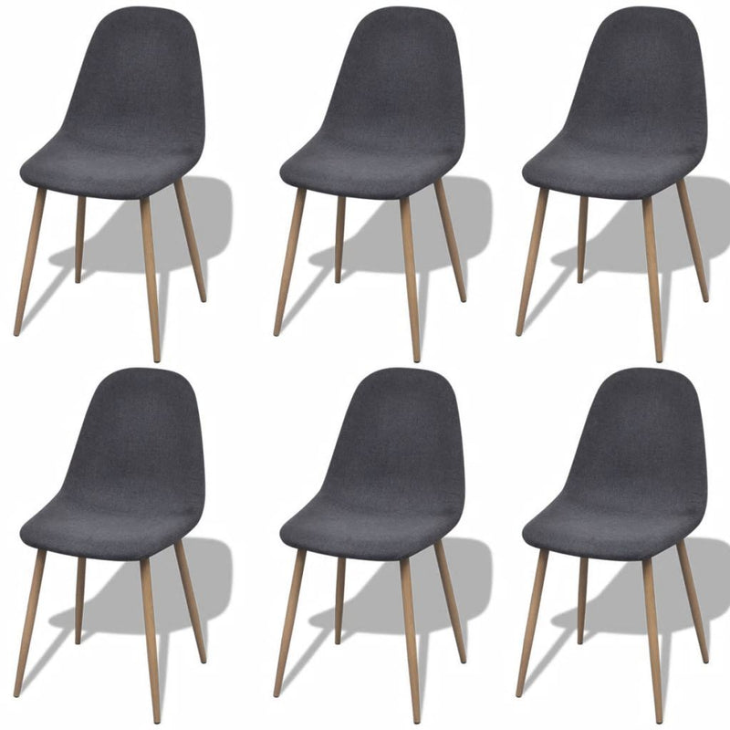 Dining Chairs 6 pcs Fabric Dark Gray - ALA TEAK
