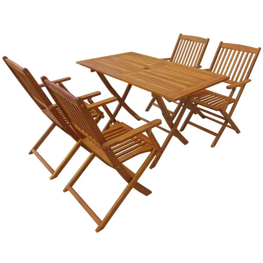 Outdoor Folding Dining Set 5 Pieces Solid Eucalyptus Wood - ALA TEAK