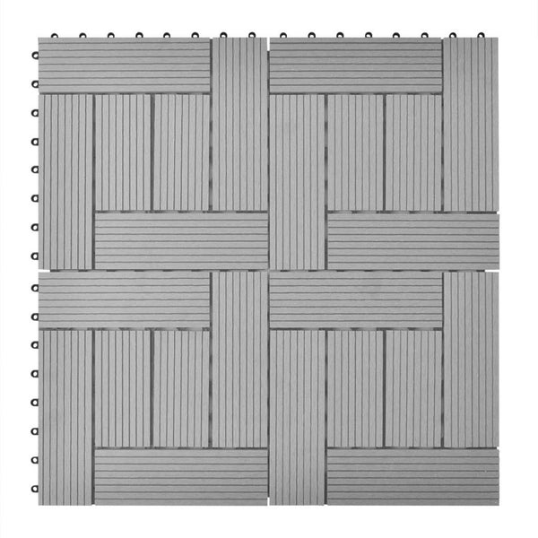 Grey 11 pcs 30 x 30 cm Decking Tiles WPC 1 sqm - ALA TEAK